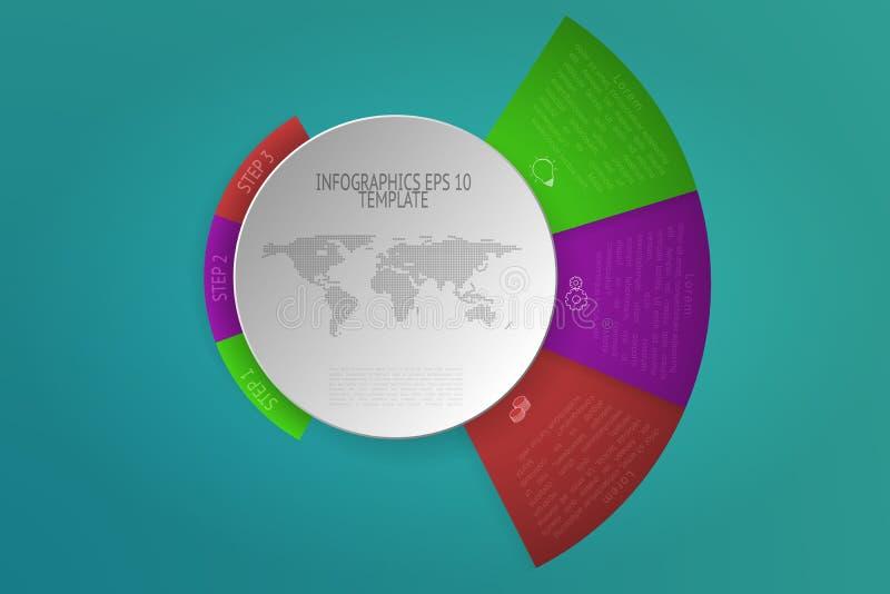 Τρία βήματα στρογγύλεψαν το infographics με τα τρισδιάστατα αντικείμενα, εικονίδια περιλήψεων απεικόνιση αποθεμάτων