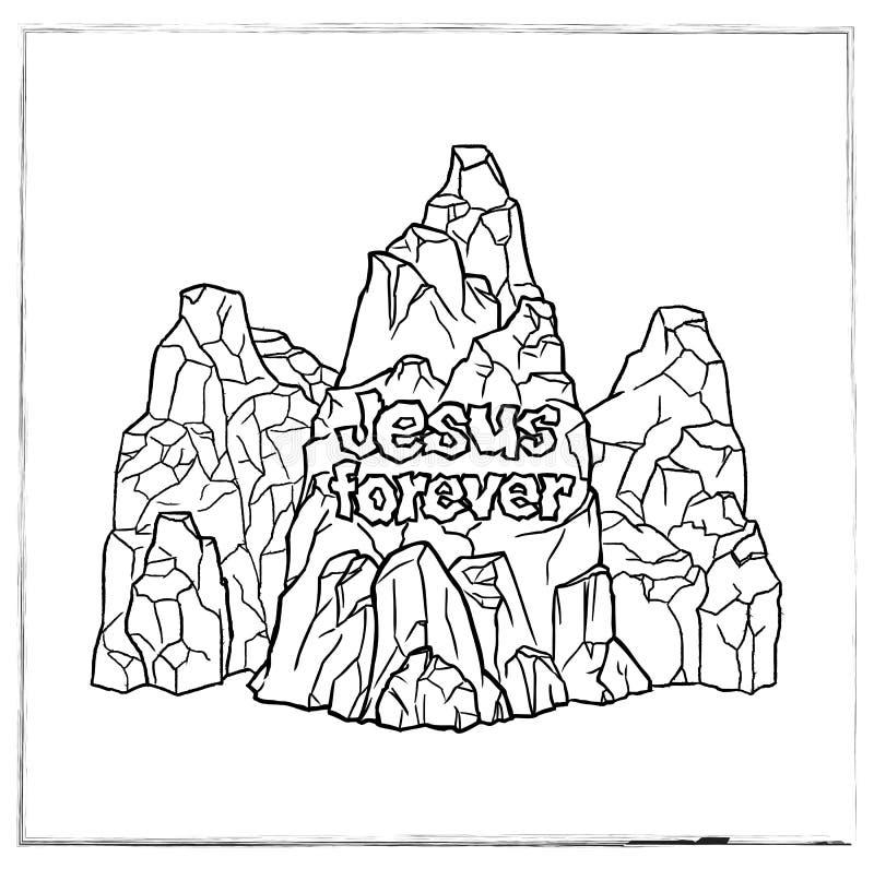 Τρία βουνά με το κείμενο Ιησούς για πάντα ελεύθερη απεικόνιση δικαιώματος