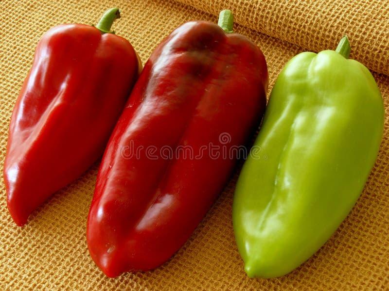 Τρία γλυκά πιπέρια στοκ εικόνες
