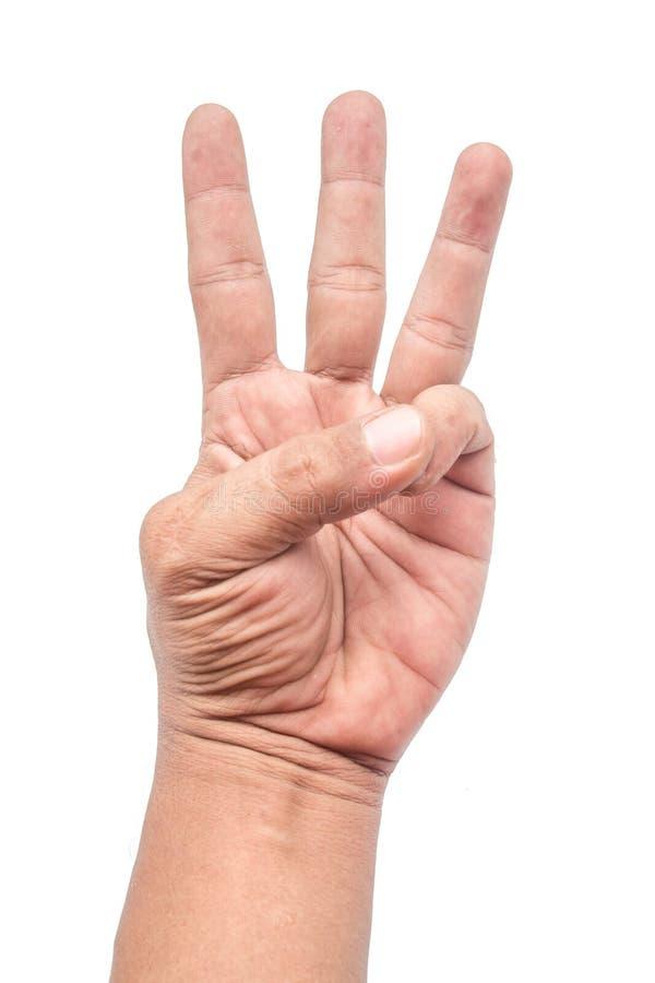 Τρία δάχτυλα που κρατούν ένα δάχτυλο σε ένα άσπρο υπόβαθρο στοκ εικόνες