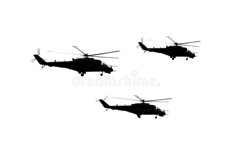 Τρία ελικόπτερα καθορισμένα στοκ φωτογραφίες