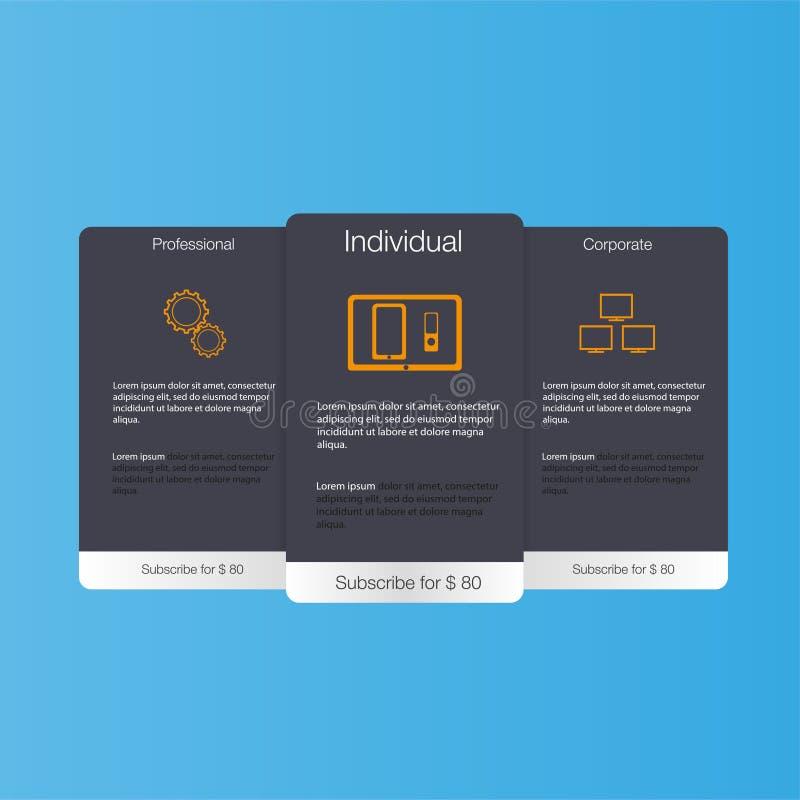 Τρία εμβλήματα δασμολογίων Πίνακας τιμολόγησης Ιστού Διανυσματικό σχέδιο για τον Ιστό app Τιμοκατάλογος διανυσματική απεικόνιση