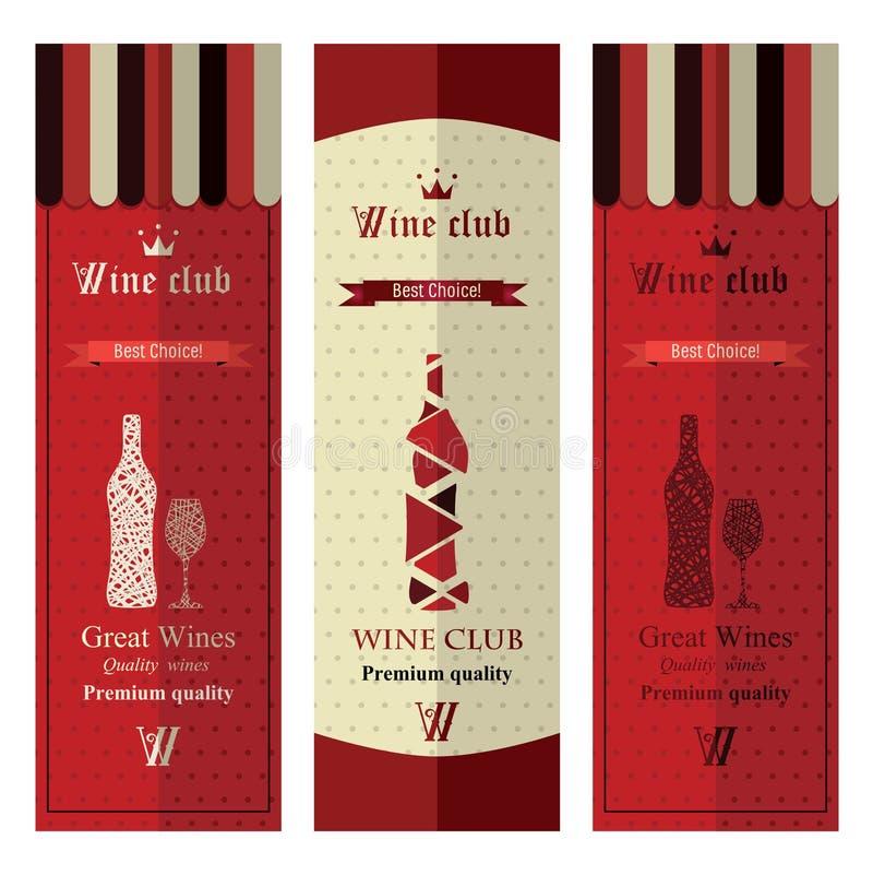 Τρία εμβλήματα με το διαφορετικό κρασί διανυσματική απεικόνιση