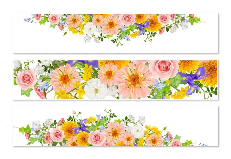 Τρία εμβλήματα λουλουδιών με τις σκιές πτώσης ελεύθερη απεικόνιση δικαιώματος