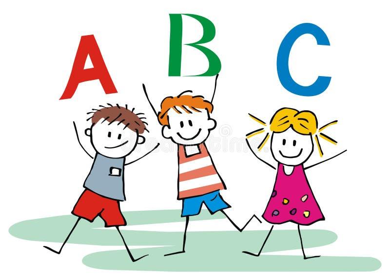 Τρία ευτυχή παιδιά και επιστολές ABC, διανυσματικό εικονίδιο ελεύθερη απεικόνιση δικαιώματος