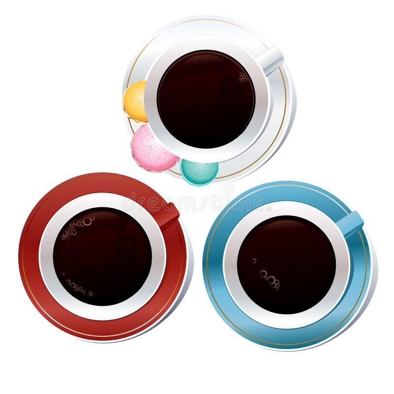 Τρία ζωηρόχρωμα φλιτζάνια του καφέ απεικόνιση αποθεμάτων