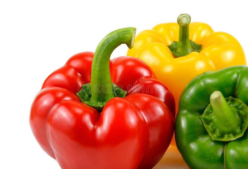 Τρία ζωηρόχρωμο γλυκό πιπέρι, κόκκινο, κίτρινος, πράσινο, πάπρικα, clippi στοκ εικόνα