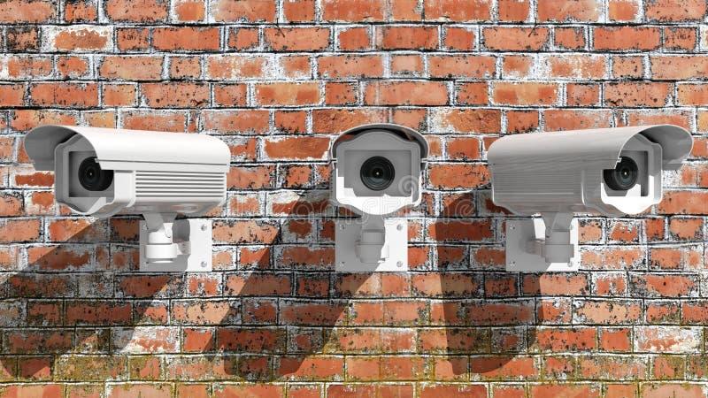 Τρία κάμερα παρακολούθησης ασφάλειας διανυσματική απεικόνιση