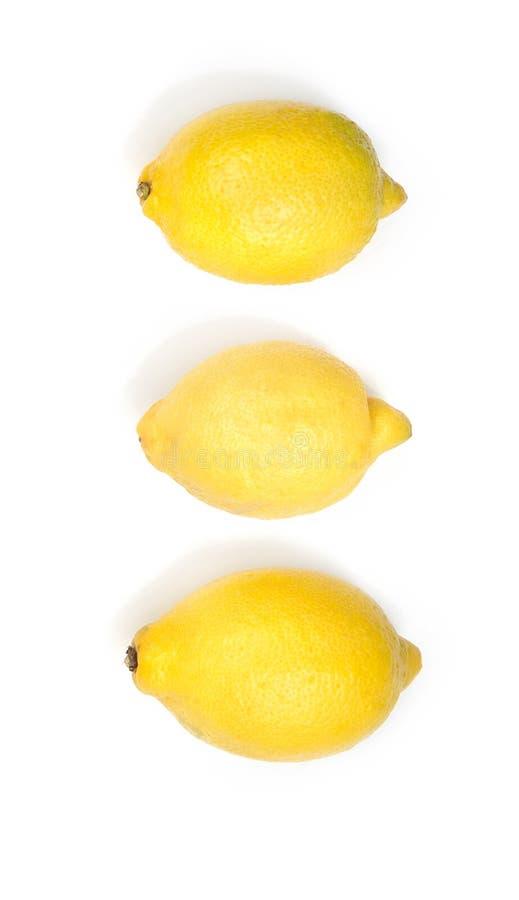 Τρία κίτρινα φρέσκα λεμόνια στοκ εικόνα με δικαίωμα ελεύθερης χρήσης