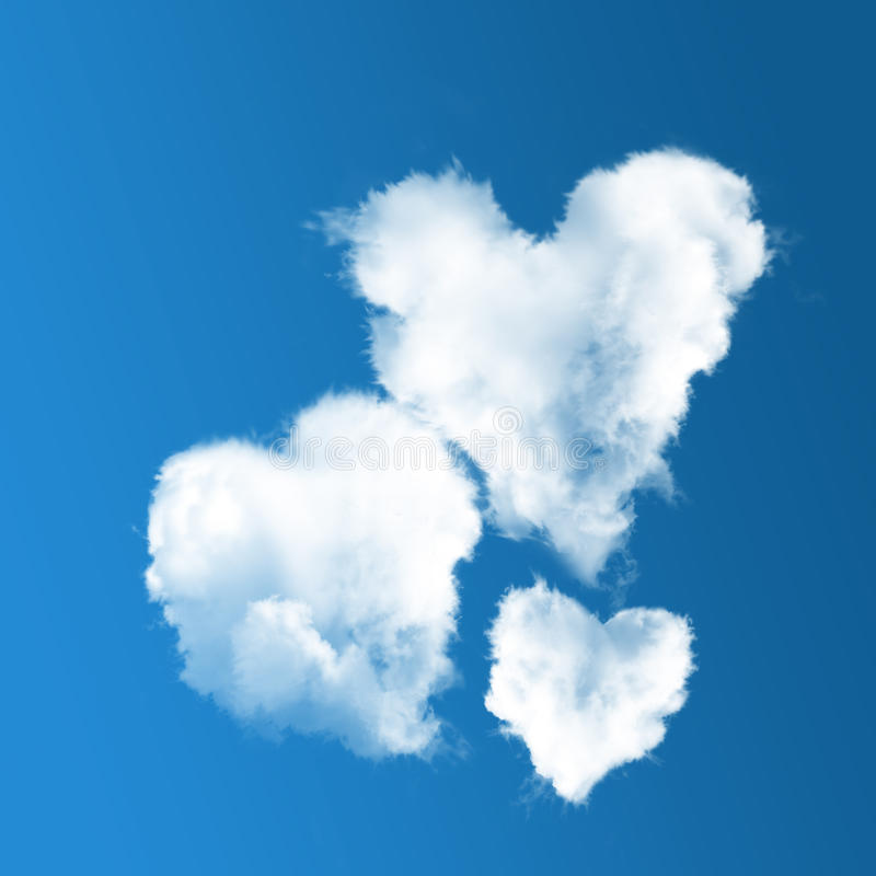 Τρία καρδιά-διαμορφωμένα σύννεφα στο μπλε ουρανό διανυσματική απεικόνιση