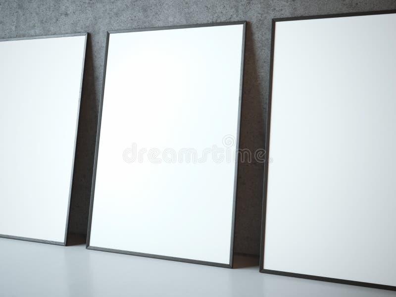 Τρία κενά άσπρα πλαίσια στοκ εικόνες