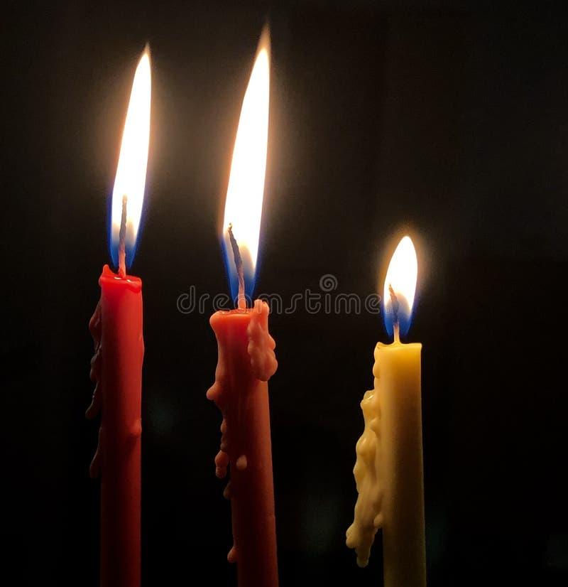 Τρία κεριά Hanukkah στοκ εικόνα