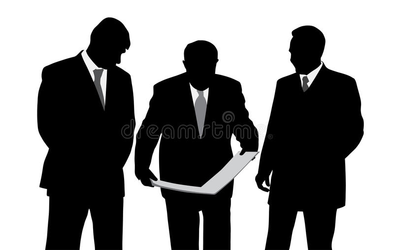 Τρία κοίταγμα μηχανικών ή αρχιτεκτόνων επιχειρηματιών ελεύθερη απεικόνιση δικαιώματος