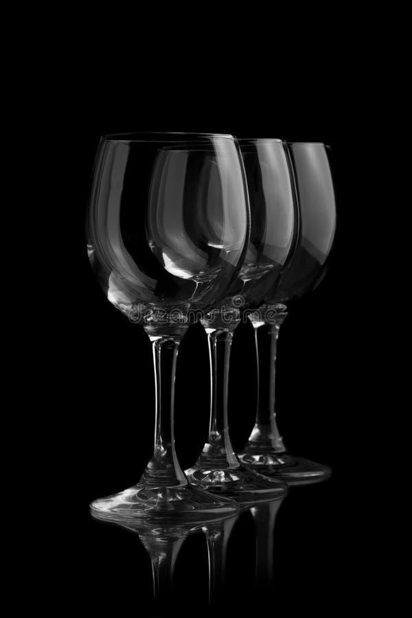 Τρία κομψά γυαλιά κρασιού στοκ φωτογραφία