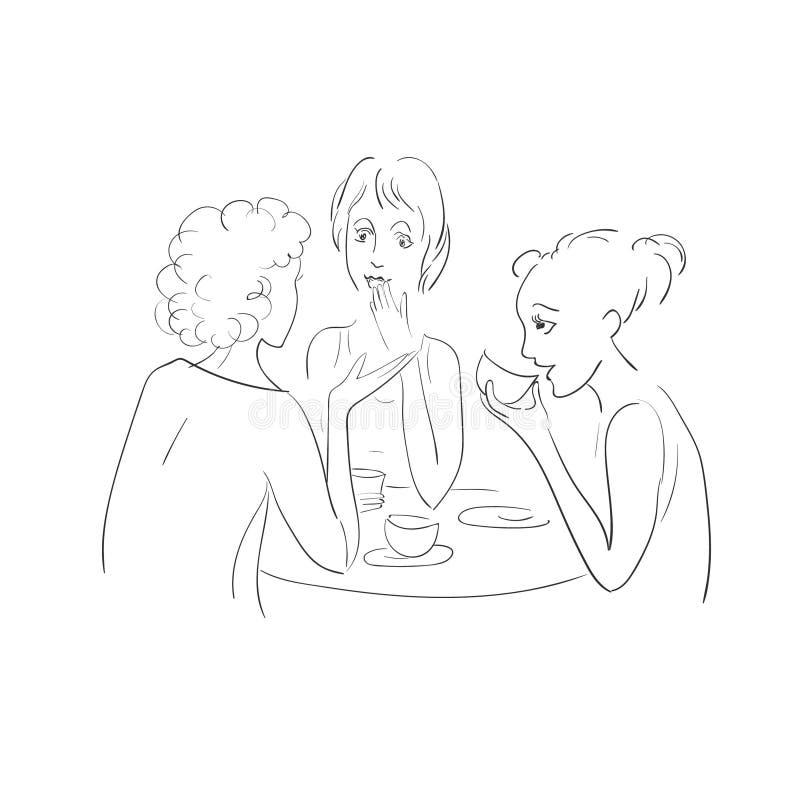 Τρία κορίτσια που πίνουν το τσάι και την ομιλία Διανυσματικό σκίτσο απεικόνιση αποθεμάτων