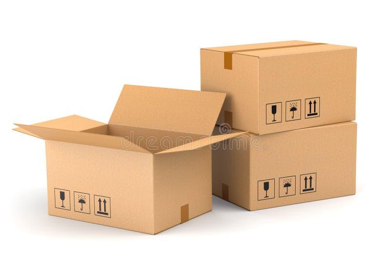 Τρία κουτιά από χαρτόνι στοκ φωτογραφία