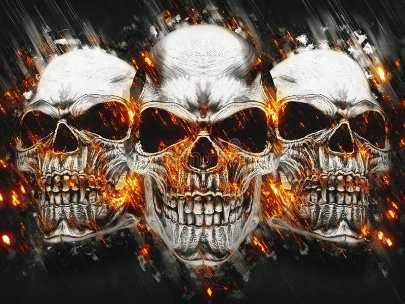 Τρία κρανία βαμπίρ μετάλλων - καίγοντας βροχή απεικόνιση αποθεμάτων