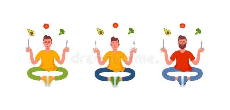 Τρία λεπτά άτομα που κάθονται στη θέση λωτού με ένα δίκρανο και ένα μαχαίρι στα χέρια τους και γύρω από τα ένα υγιές γεύμα Αβοκάν διανυσματική απεικόνιση