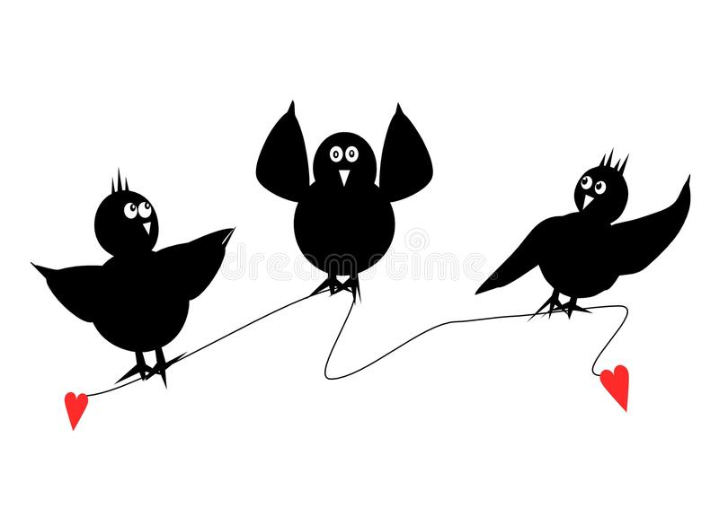 Τρία μαύρα πουλιά ελεύθερη απεικόνιση δικαιώματος