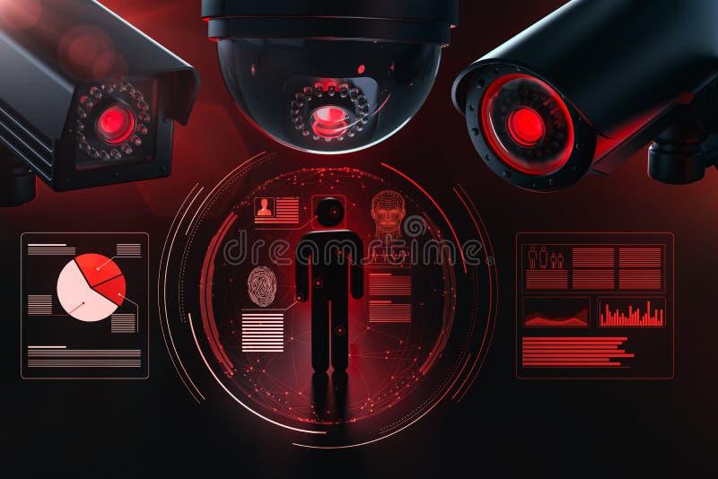 Τρία μεγάλα CCTV που συλλέγουν και προσωπικά στοιχεία ελέγχου του οδηγημένου λογισμικού επιτήρησης ως μεταφορά τεχνητής νοημοσύνη διανυσματική απεικόνιση