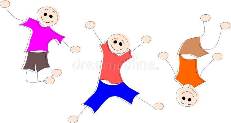 Τρία μικρά παιδιά πηδούν διανυσματική απεικόνιση