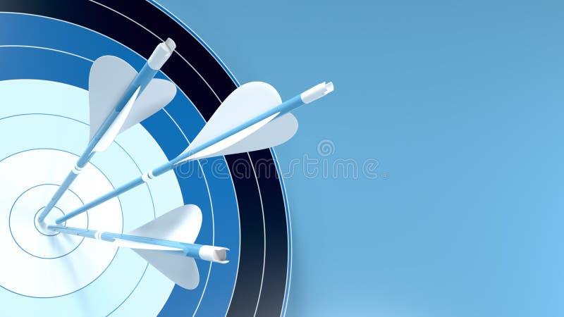 Τρία μπλε βέλη χτύπησαν το κέντρο ενός στόχου τοξοβολίας, απομονωμένα σε μπλε φόντο διανυσματική απεικόνιση