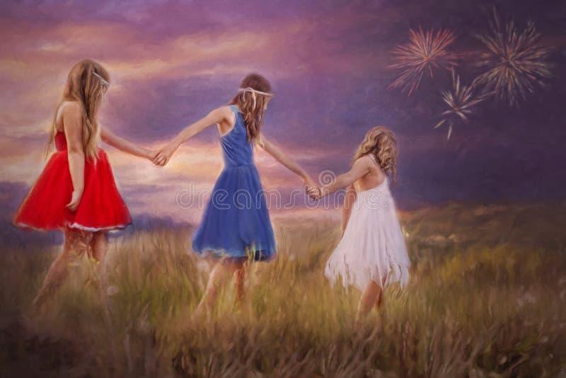 Τρία νέα κορίτσια χέρι-χέρι διανυσματική απεικόνιση