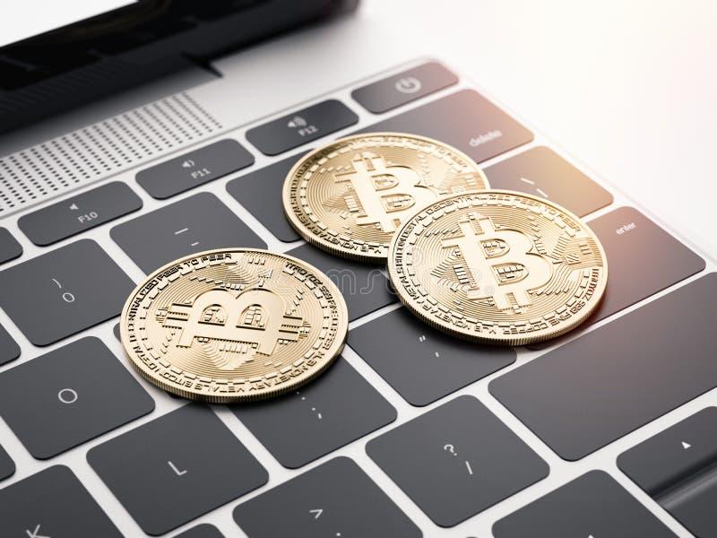 Τρία νομίσματα στο lap-top τρισδιάστατη απόδοση διανυσματική απεικόνιση