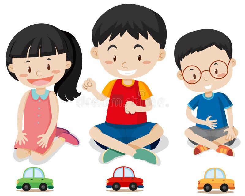 Τρία παιδιά με τα αυτοκίνητα παιχνιδιών διανυσματική απεικόνιση