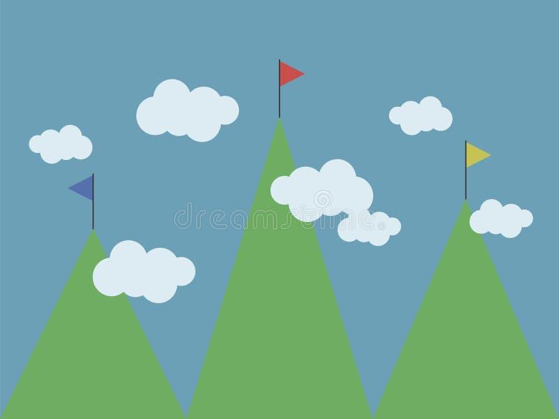 Τρία πράσινα βουνά των διαφορετικών πολύχρωμων σημαιών υψών ανώτατων στην άσπρη σύννεφων απεικόνιση σχεδίων μπλε ουρανού διανυσμα απεικόνιση αποθεμάτων