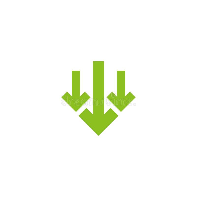 Τρία πράσινα τακτοποιημένα βέλη κάτω από το εικονίδιο Μεταφορτώστε το σημάδι Πτώση, μείωση απεικόνιση αποθεμάτων