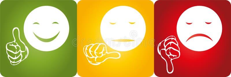 Τρία πρόσωπα και χέρια, φωτεινός σηματοδότης και λογότυπο αναθεωρήσεων απεικόνιση αποθεμάτων