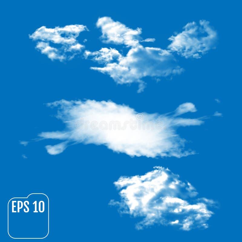 Τρία ρεαλιστικά σύννεφα σε ένα ουρανός-μπλε υπόβαθρο Διανυσματικό illustra ελεύθερη απεικόνιση δικαιώματος
