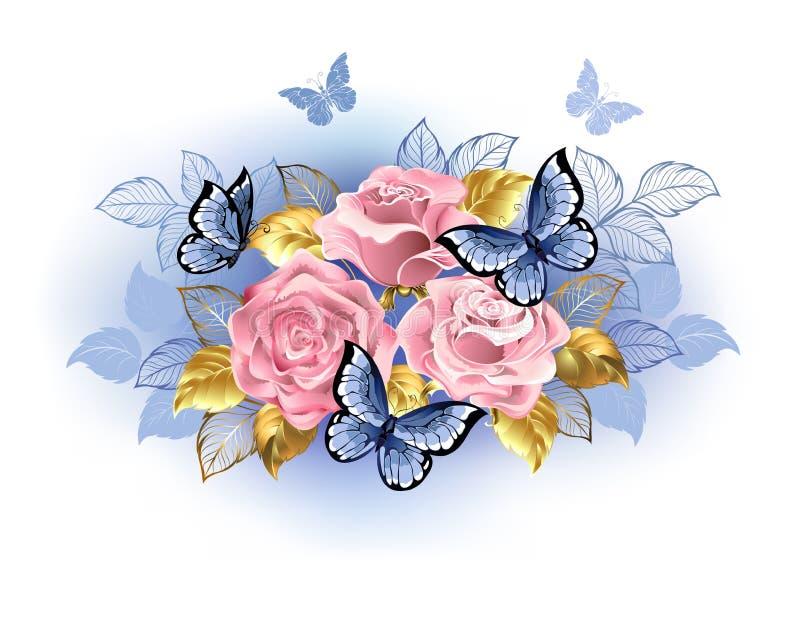 Τρία ρόδινα τριαντάφυλλα με τις πεταλούδες απεικόνιση αποθεμάτων