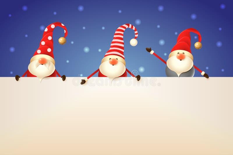 Τρία Σκανδιναβικά στοιχειά Χριστουγέννων με την πινακίδα στο μπλε υπόβαθρο διανυσματική απεικόνιση