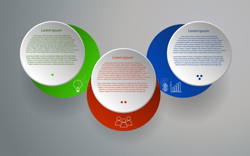Τρία στρογγυλευμένο βήματα infographics Κυκλική infographic υπόδειξη ως προς το χρόνο ελεύθερη απεικόνιση δικαιώματος