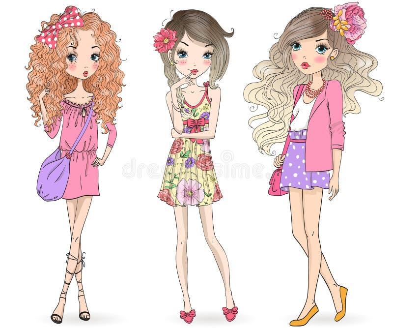 Τρία συρμένα χέρι όμορφα χαριτωμένα θερινά κορίτσια κινούμενων σχεδίων διανυσματική απεικόνιση
