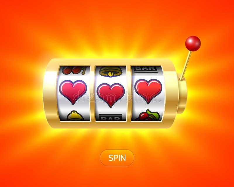 Τρία σύμβολα καρδιών στο χρυσό μηχάνημα τυχερών παιχνιδιών με κέρματα απεικόνιση αποθεμάτων