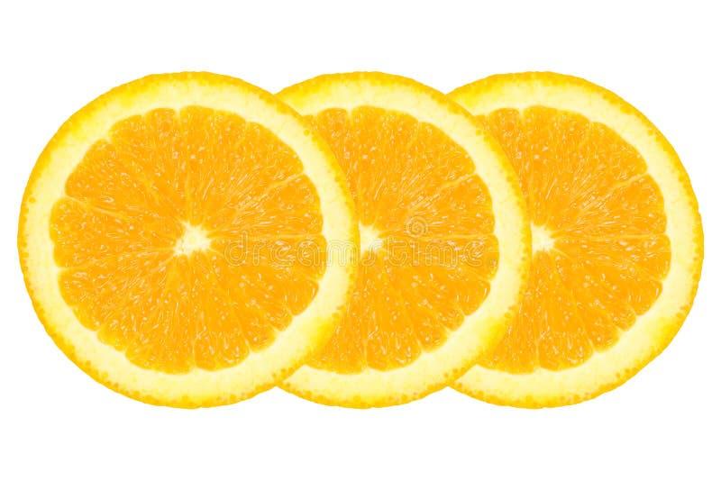 τρία τεμαχισμένο πορτοκάλι που απομονώνεται στο λευκό στοκ εικόνα με δικαίωμα ελεύθερης χρήσης
