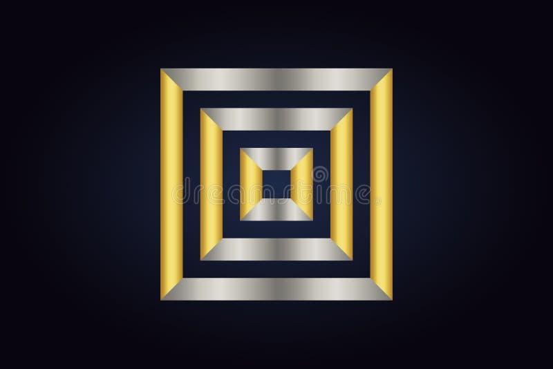 Τρία τετράγωνα το ένα μέσα στο άλλο Τετράγωνα στα ασημένια και χρυσά χρώματα διανυσματική απεικόνιση