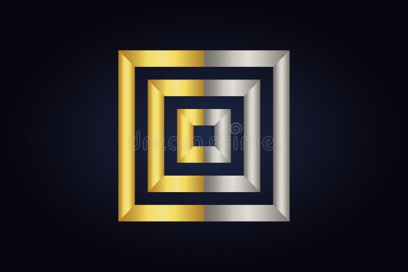 Τρία τετράγωνα το ένα μέσα στο άλλο Τετράγωνα στα ασημένια και χρυσά χρώματα απεικόνιση αποθεμάτων