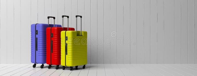 Τρία φωτεινά χρώματα και διάφορες βαλίτσες μεγεθών που απομονώνονται στο άσπρο ξύλινο υπόβαθρο πατωμάτων και τοίχων, έμβλημα, διά απεικόνιση αποθεμάτων