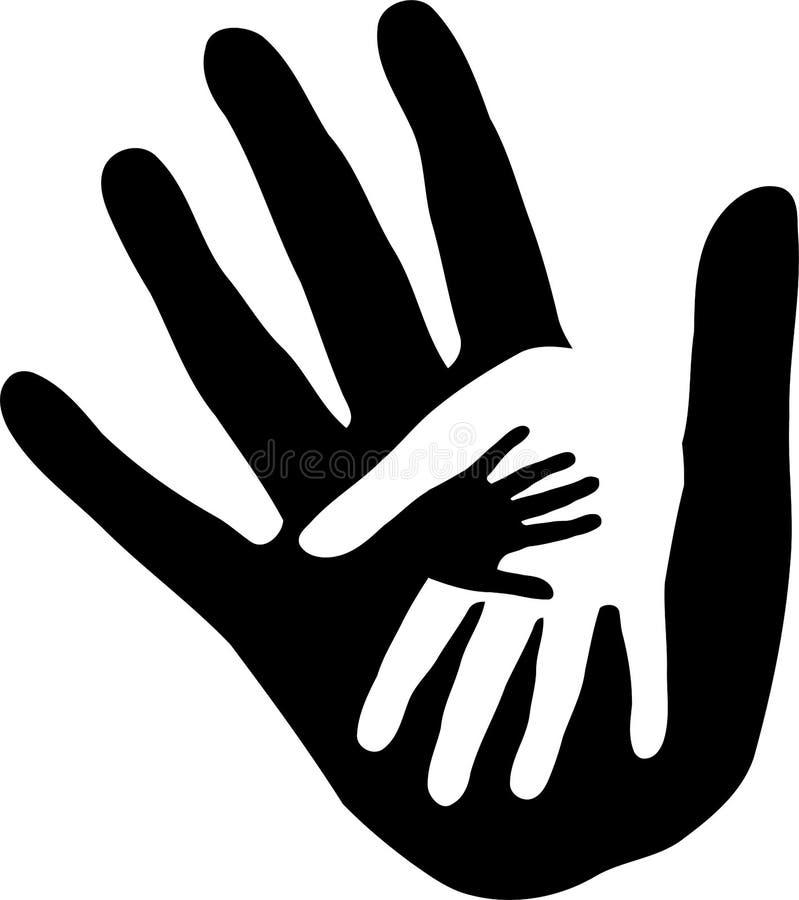 Τρία χέρια μαζί, λογότυπο οικογενειών και ανθρώπων διανυσματική απεικόνιση