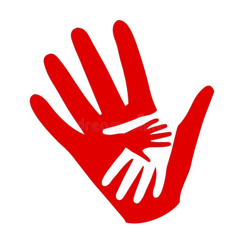 Τρία χέρια σε ετοιμότητα, εικονίδιο φιλανθρωπίας, οργάνωση των εθελοντών, οικογενειακή κοινότητα - διάνυσμα ελεύθερη απεικόνιση δικαιώματος