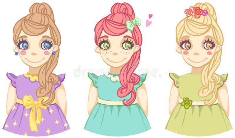 Τρία χαριτωμένα έγχρωμα κινούμενα σχέδια κορίτσια απεικόνιση αποθεμάτων