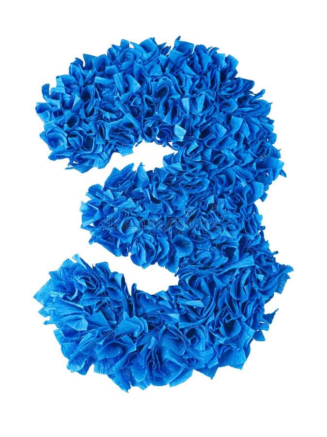 τρία Χειροποίητος αριθμός 3 από τα μπλε απορρίματα του εγγράφου απεικόνιση αποθεμάτων
