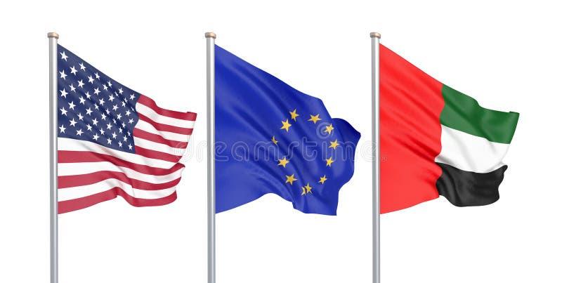 Τρία χρωμάτισαν τις μεταξωτές σημαίες στον αέρα: ΗΠΑ Ηνωμένες Πολιτείες της Αμερικής, Ε. - η ευρωπαϊκή ένωση και τα Ηνωμένα Αραβι ελεύθερη απεικόνιση δικαιώματος