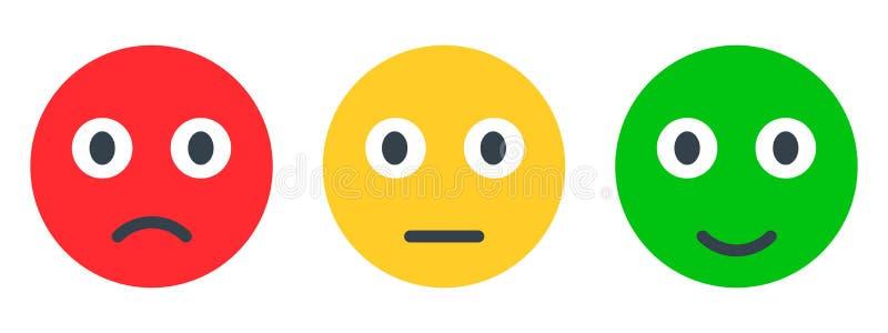 Τρία χρωμάτισαν smilies, καθορισμένη συγκίνηση smiley, από τα smilies, εικονίδια κινούμενων σχεδίων emoticons - διάνυσμα απεικόνιση αποθεμάτων