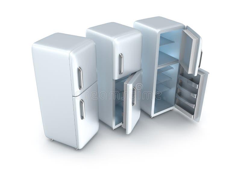 Τρία ψυγεία που απομονώνονται ελεύθερη απεικόνιση δικαιώματος