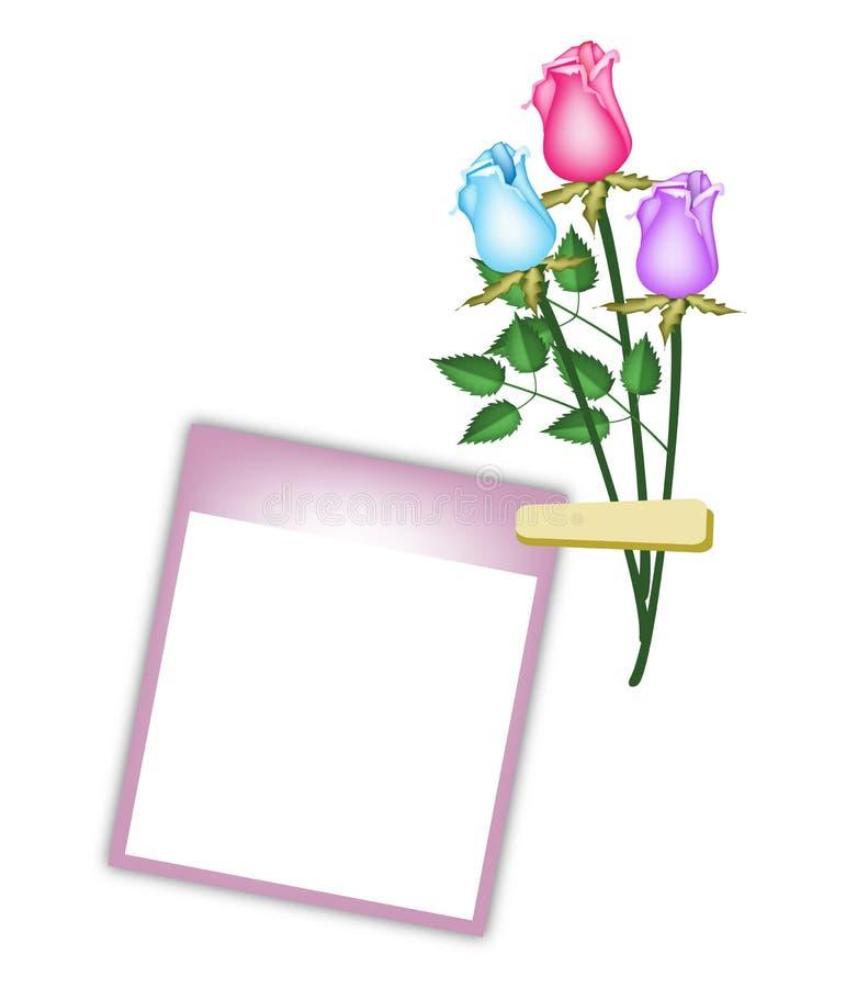 Τρία όμορφα τριαντάφυλλα με την πορφυρή κενή φωτογραφία διανυσματική απεικόνιση